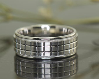 Mark LEE - Gentleman's Wedding Band in White Gold, 7.8mm, Satin Finish, Free Shipping