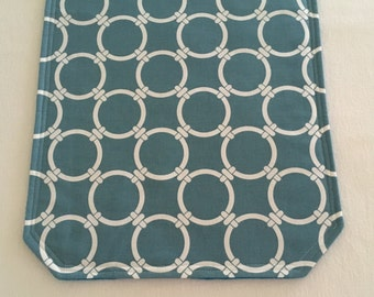 Table Runner in a Teal Blue and White Circle Pattern
