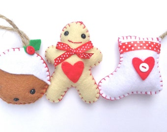 Sew your own Christmas Pudding, Gingerbread Man and Stocking Kit.