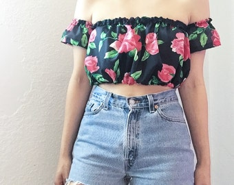 Black And Red Roses Off The Shoulder Crop Top