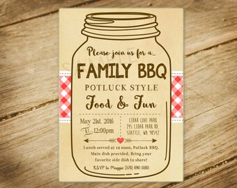 Family BBQ, Picnic, Family Reunion Mason Jar Invitation