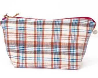 large flannel plaid dopp kit. Men's travel. dopp kit. flannel pouch