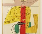 Mid Century Modern Le Corbusier Stone Litho 1963 titled Taureau