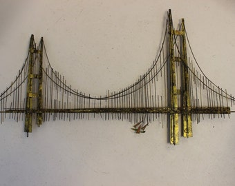 Mid Century Modern Jere Brutalist Metal Bridge Wall Sculpture Signed 1970