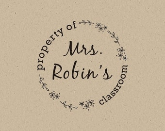 CUSTOM TEACHER STAMP - personalized rubber stamp,Property of Classroom , library stamp, teacher stamp, classroom stamp