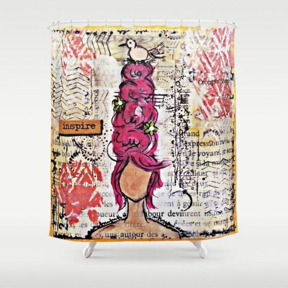 Mixed media art shower curtain: Inspire