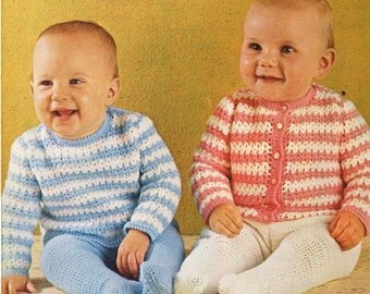 babycardigan and jumper  vintage crochet  pattern PDF instant download