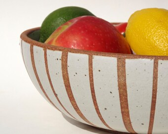 Large handmade white ceramic bowl with exposed clay vertical stripes MADE TO ORDER