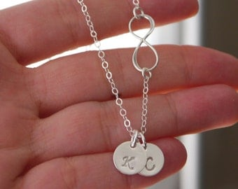 Sterling Silver Infinity Necklace, Infinity Initial necklace, Two Initials, Children Initials, Mom Gifts, Personalized Infinity, Custom