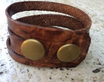 tri-split leather cuff bracelet