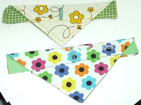 Puppy Bows~2 over the collar dog pet bandana flowers dots extra small ~US Seller