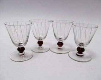 Vintage Set of 4 Cordial Glasses / Fluted Liqueur Glasses / Aperitif Glasses / Striped Stemware / Vintage Barware / Cranberry Glass Stemware