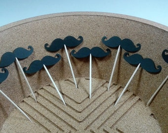 Mustache Cupcake Toppers, Set of 12