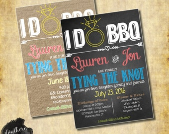 I Do BBQ Wedding Invitation Chalkboard or Burlap - Print at Home JPEG/PDF File