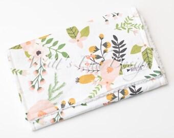 Modern Baby Girl Burp Cloth MIX & MATCH-Super Absorbent Cotton Chenille-Blush Blooms