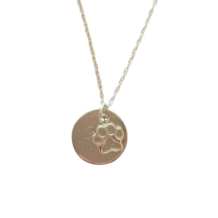 engraved paw print memorial charm pendant