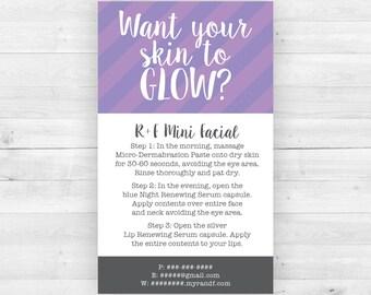 Rodan and Fields Mini Facial Cards Purple | Customized Printable