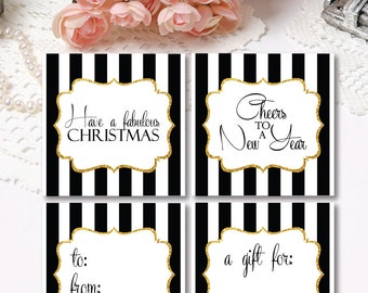 Black And Gold Christmas Tags - Gold Glitter Holiday Tags - Christmas Gift Tags - Printable Christmas Favor Tags - Digitial Tags