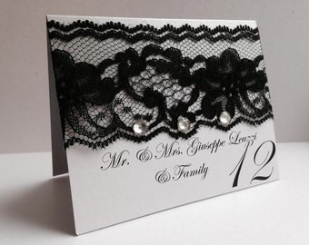 Place cards, Lace place card, Black lace place card, Place card with crystals, Table seating cards