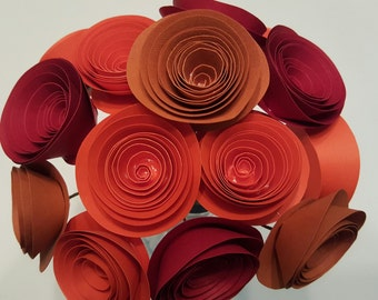 Orange and Red Paper Flower Arrangement, Orange Paper Flowers, Orange Centerpiece,Fall Wedding Flowers, Fall Wedding Centerpiece
