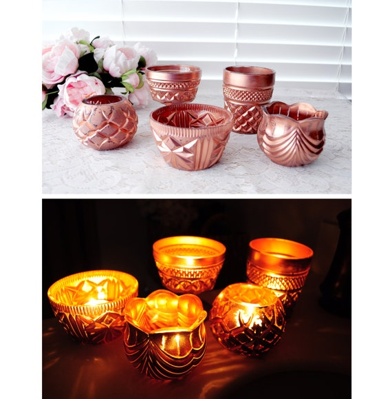 16 Rose Gold And Copper Details For Stylish Interior Decor: Vintage Rose Gold Copper Votive Holders Copper Votive Candle