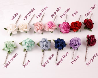 Pretty Mulberry Rose Flower Kirby Hair Grip - Grip Flower Girls Bridesmaids