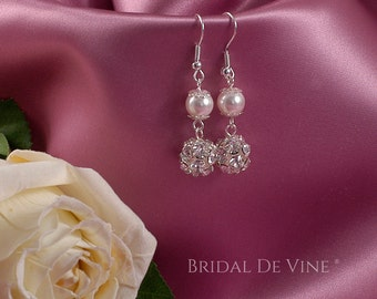 Pretty Bridal Swarovski Pearl & Dimante Earrings  - with CRYSTALLIZED™ - Swarovski Elements