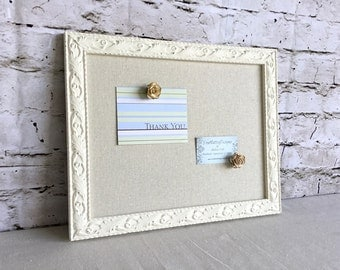 Magnetic board - white frame - shabby chic - natural linen fabric