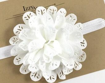 White Flower Girl Headband,Baby girl headband,Christening Headband,Newborn Headband,White Flower Hair Clip,White Lace Flower Headband