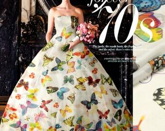 100% Mulberry silk chiffon fabric, Butterfly Printing fabric, DIY dress silk fabric - 140 cm Wide x 100 cm - ws