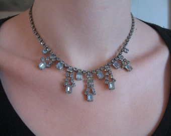Incredible Vintage 50's Ice Blue Rhinestone Bib Necklace Choker -Perfect, Lovely Piece.