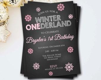 Winter Onederland Invitation, Winter Onederland Birthday, Onederland Invite, Snowflake Invitation, Chalkboard Invitation, DIY Printable