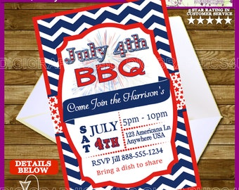 Printable 4th of July BBQ, Fourth of July Party Invitation Digital File