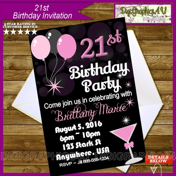 21st Birthday Party Printable Invitation By DigiGraphics4u