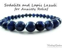 Stress and Anxiety Relief // Blue Sodalite // Lapis Lazuli // Bridesmaid Gift // Energy Bracelet // Spiritual Jewelry // Healing Garden Shop