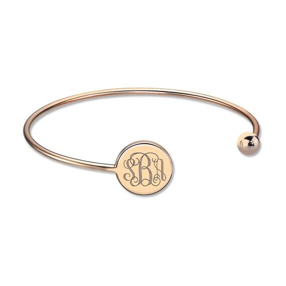 monogram bangle bracelet gold plated by