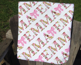 Personalized Baby Blanket with Flowers and Bows - Floral Name Receiving Blanket - Girl's Flower Blanket - Floral Newborn Swaddling Blanket