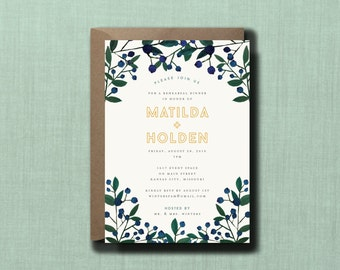 Whimsical Botanical Blueberry Rehearsal Dinner Invitation // PRINTED Set of 10 // Modern Wedding, Whimsical Wedding, Watercolor Wedding