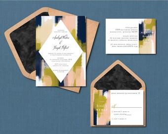 Modern Brush Stroke Wedding Suite // DIY PRINTABLE Invite + RSVP // Modern Wedding, Whimsical Wedding, Artsy Wedding