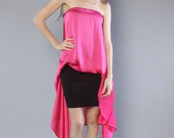 Hot Pink Satin Shirt Top