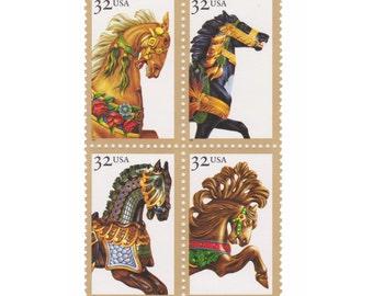 1995 32c Carousel Horses - 12 Unused Vintage Postage Stamps - Item No. 2976s