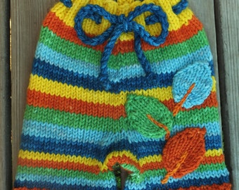 Handknit Wool Shorts, Wool Soaker, Wool Diaper Cover, Cloth Diaper Cover, size Large, 12-24 months