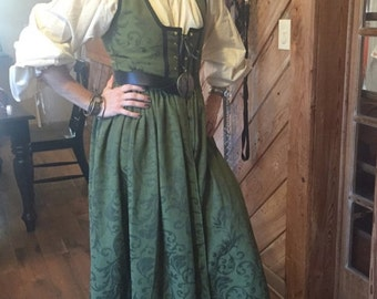 Irish Celtic Green Brocade Renaissance Costume pirate lady wench dress gown