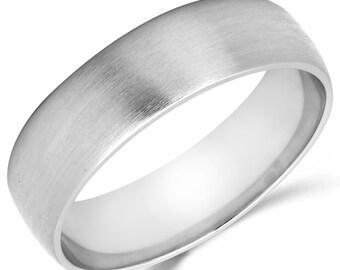 10K Solid White Gold 6mm Brush Finish Wedding Band Ring