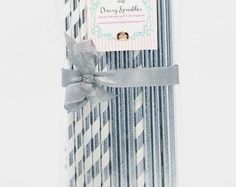 Silver Foil Straws *Wedding Decor *Silver Wedding Decorations *Bridal Party *SILVER FOIL Paper Straws *Silver Foil Stripe *Solid Silver Foil