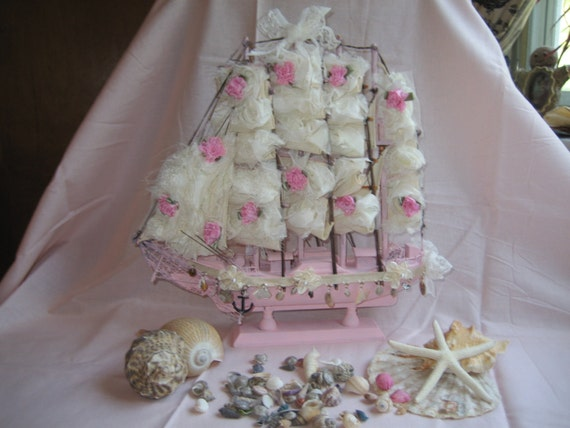 Coastal Decor Shabby Chic: Shabby Chic Sailboat. Nautical Wedding Sailboat Decor. Shabby