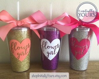 Personalized Flower Girl Cup, Flower Girl Gift Idea, Custom Flower Girl Tumbler, Sparkle Tumbler, Flower Girl Proposal, Gift for Flower Girl