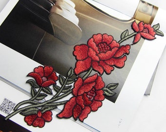 peony flower applique embroidery patch DIY Accessories applique vintage floral patches