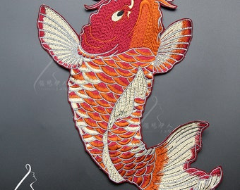 Large fish embroidered applique patch Vintage patch Clothing decoration patch