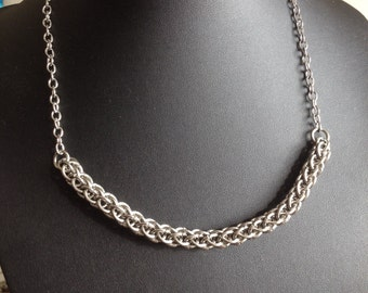 Bar Necklace - Chainmaille Necklace - Unusual Chainmaille Bar Necklace - Stainless Steel Necklace